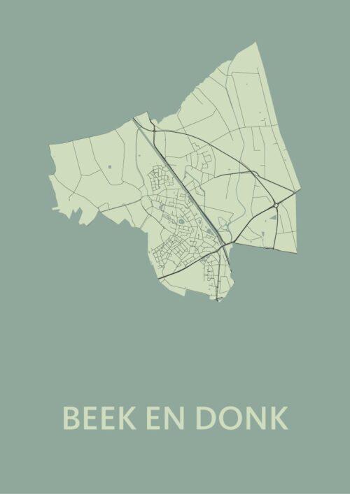 Beek en Donk Olive Stadskaart Poster   Kunst in Kaart