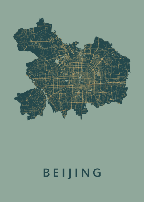 Beijing Amazon Stadskaart Poster | Kunst in Kaart
