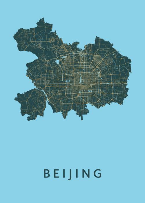 Beijing Azure Stadskaart Poster | Kunst in Kaart