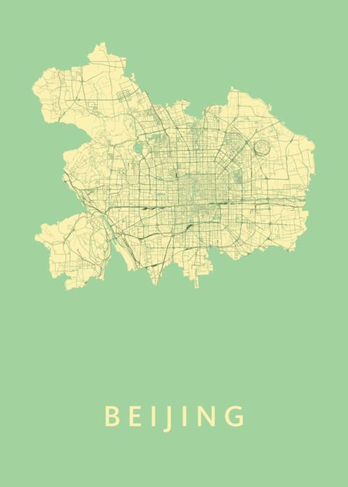 Beijing Spring Stadskaart Poster | Kunst in Kaart