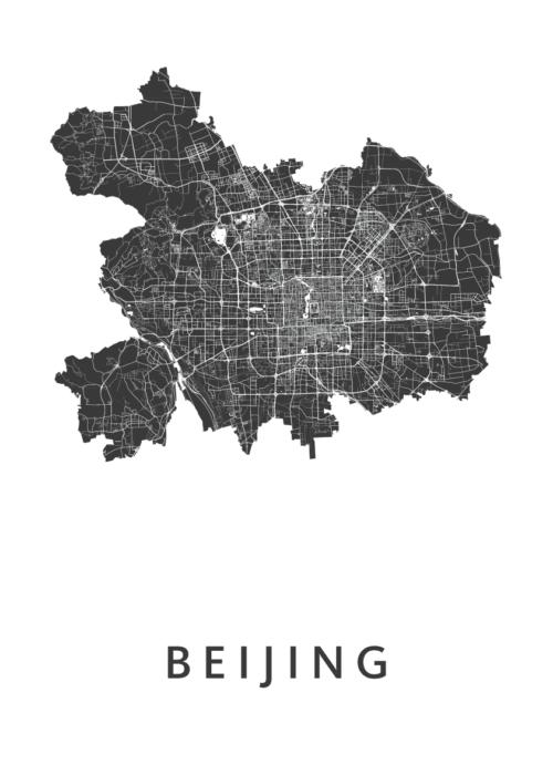 Beijing White Stadskaart Poster | Kunst in Kaart