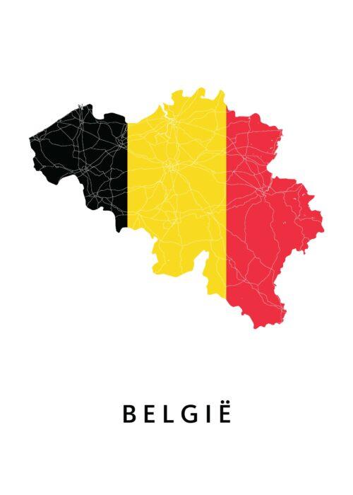 België Landkaart - Landvlag - Poster