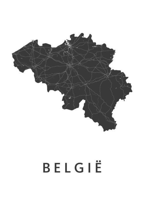 Belgie White B2 stadskaart poster