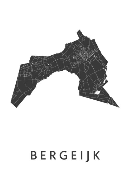 Bergeijk White Stadskaart Poster | Kunst in Kaart