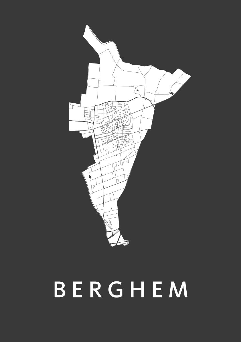 Berghem Black Stadskaart Poster Kunst In Kaart