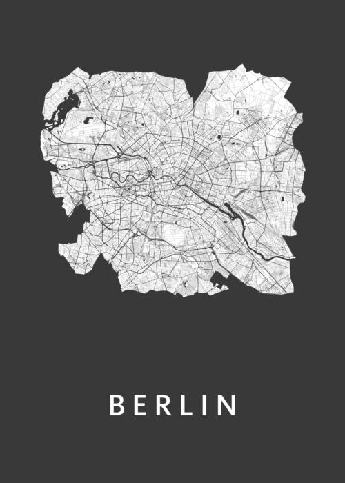 Berlin Stadsplan Black