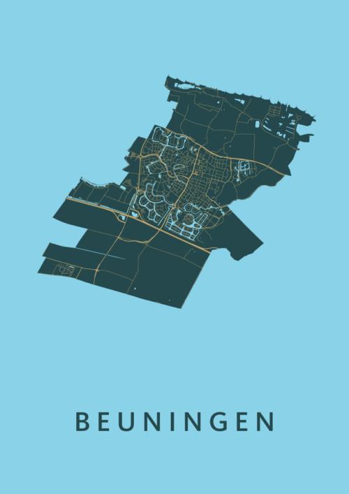 Beuningen Azure Stadskaart Poster | Kunst in Kaart