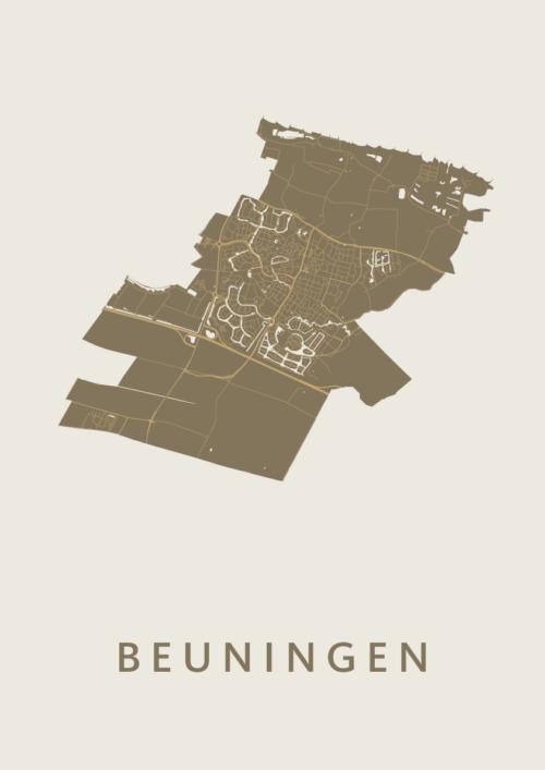 Beuningen Gold Stadskaart Poster | Kunst in Kaart