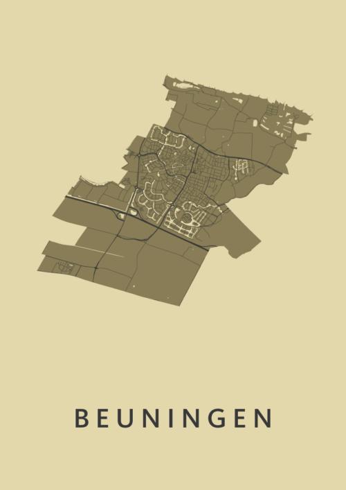 Beuningen GoldenRod Stadskaart Poster   Kunst in Kaart