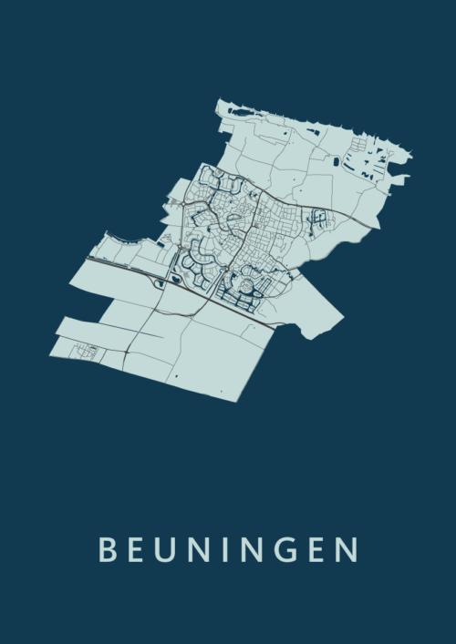 Beuningen Navy Stadskaart Poster | Kunst in Kaart