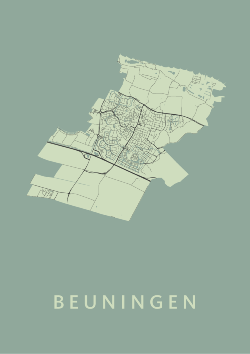 Beuningen Olive Stadskaart Poster | Kunst in Kaart