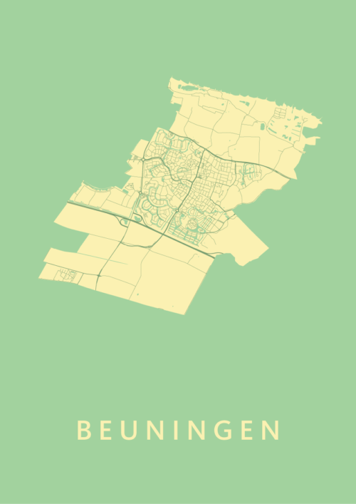 Beuningen Spring Stadskaart Poster   Kunst in Kaart