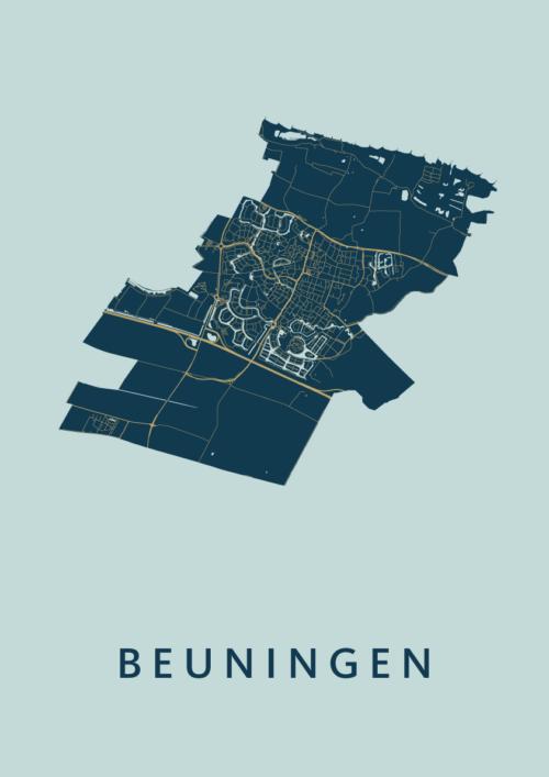 Beuningen Prussian Stadskaart Poster | Kunst in Kaart
