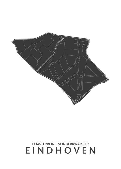 Eindhoven - Eliasterrein en Vonderkwartier Wijkkaart - wit