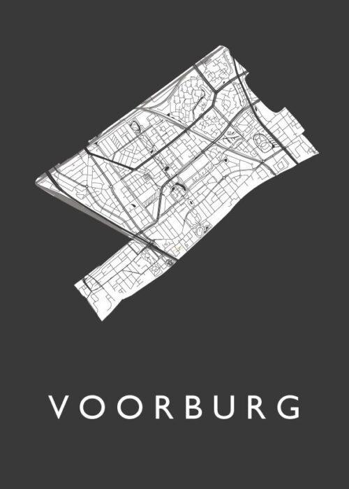 Voorburg Black Stadskaart Poster | Kunst in Kaart