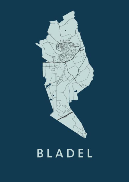 Bladel Navy Stadskaart Poster   Kunst in Kaart