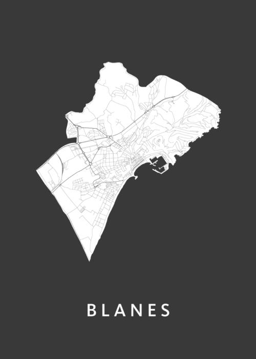 Blanes Black City Map