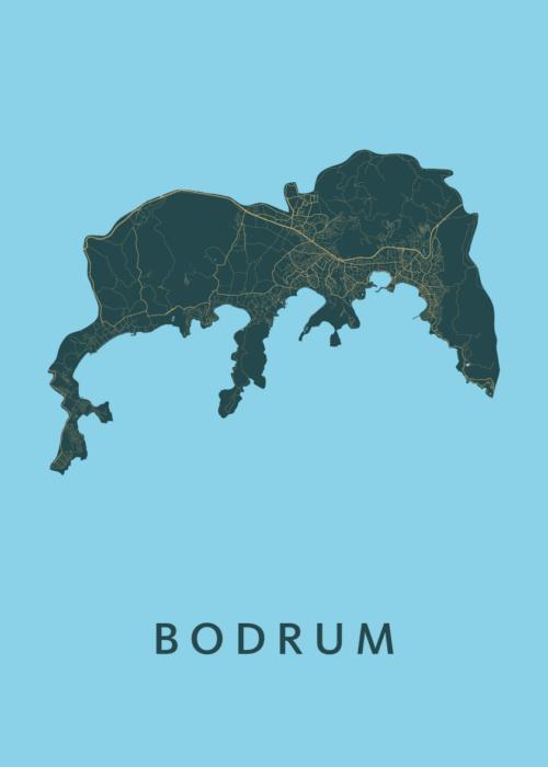 Bodrum Azure Stadskaart Poster   Kunst in Kaart