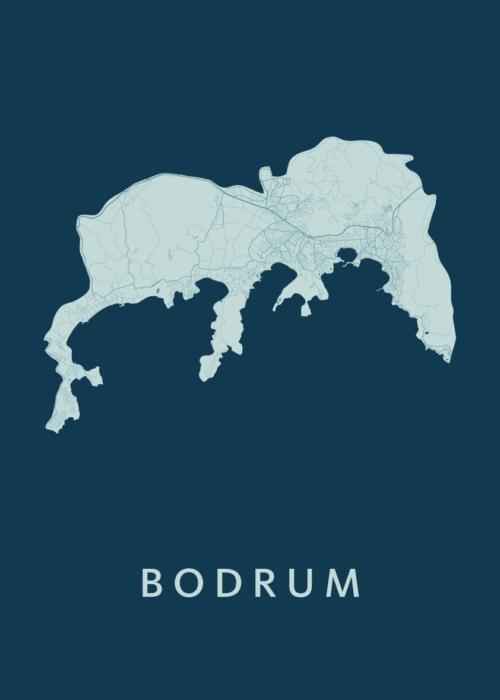 Bodrum Feldgrau Stadskaart Poster   Kunst in Kaart