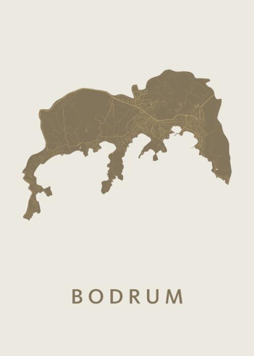 Bodrum Gold Stadskaart Poster   Kunst in Kaart
