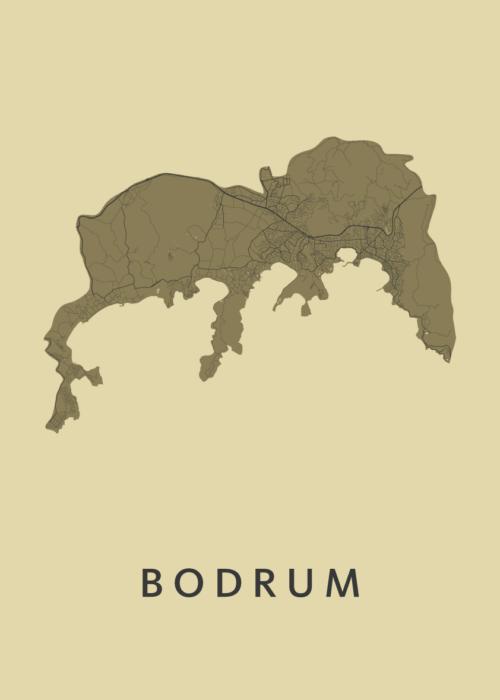 Bodrum GoldenRod Stadskaart Poster   Kunst in Kaart