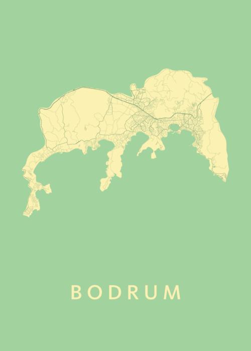 Bodrum Spring Stadskaart Poster   Kunst in Kaart