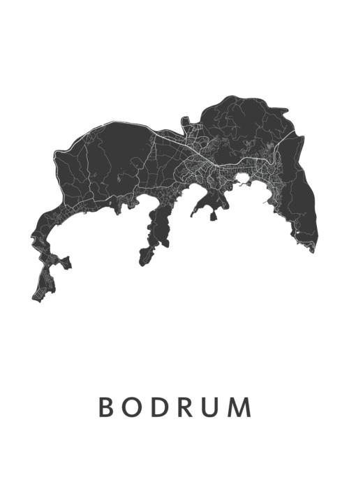 Bodrum White Stadskaart Poster   Kunst in Kaart