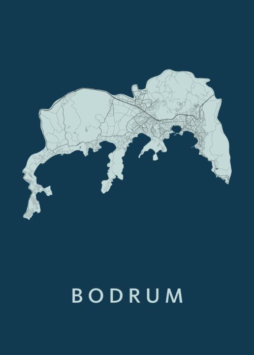 Bodrum navy A3 stadskaart poster