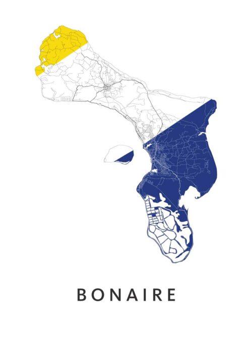 Bonaire Landkaart - Landvlag - Poster