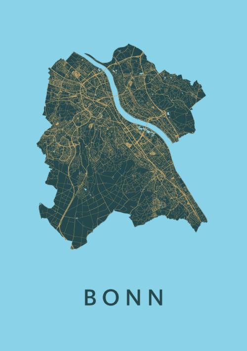 Bonn Azure Stadskaart Poster | Kunst in Kaart