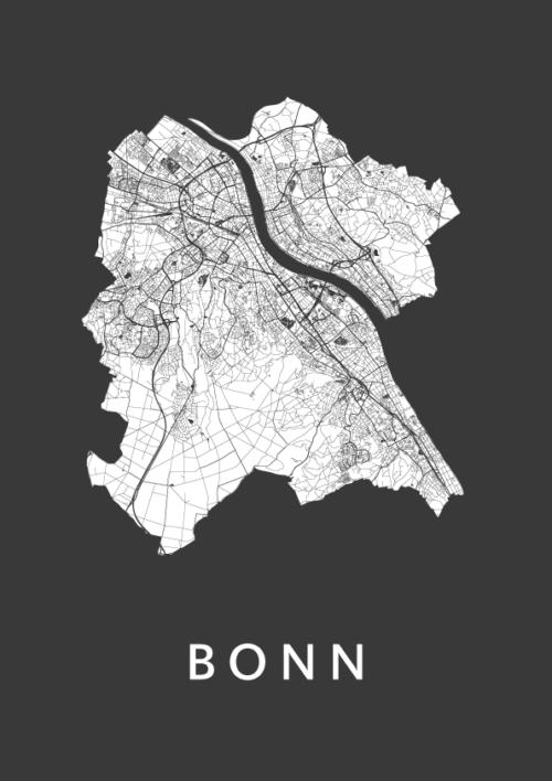 Bonn Black Stadskaart Poster | Kunst in Kaart