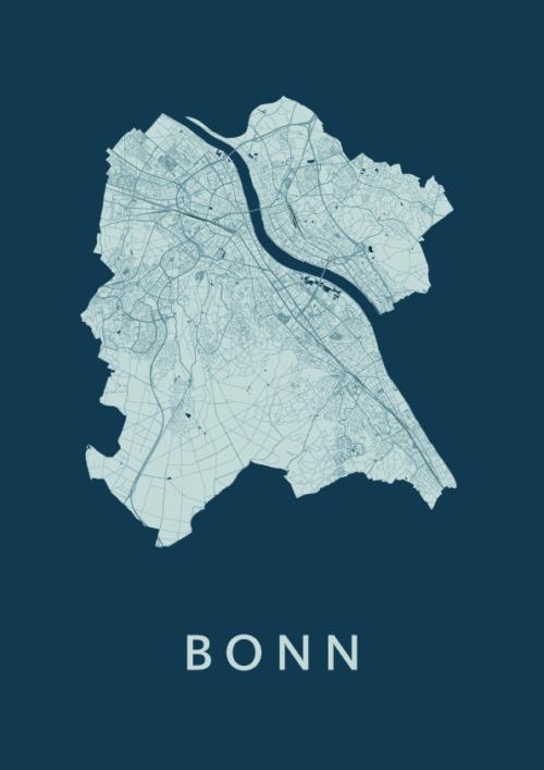 Bonn Feldgrau Stadskaart Poster | Kunst in Kaart