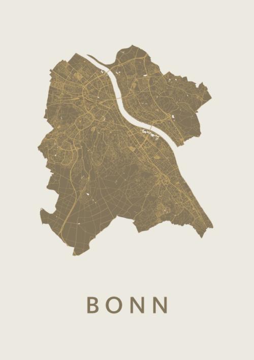Bonn Gold Stadskaart Poster | Kunst in Kaart