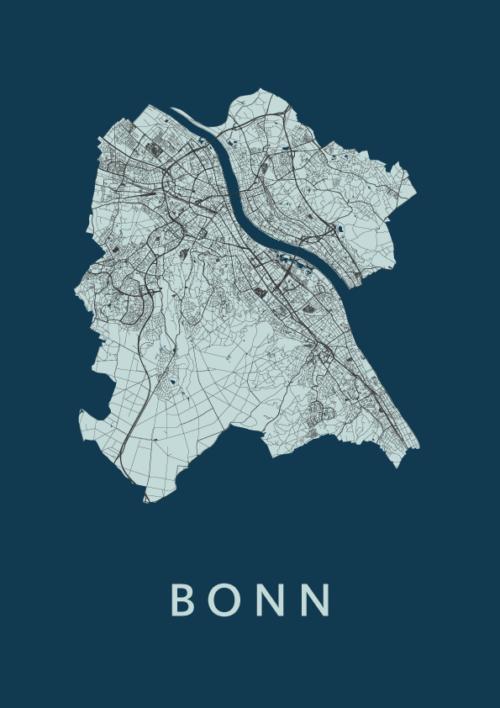 Bonn Navy Stadskaart Poster | Kunst in Kaart