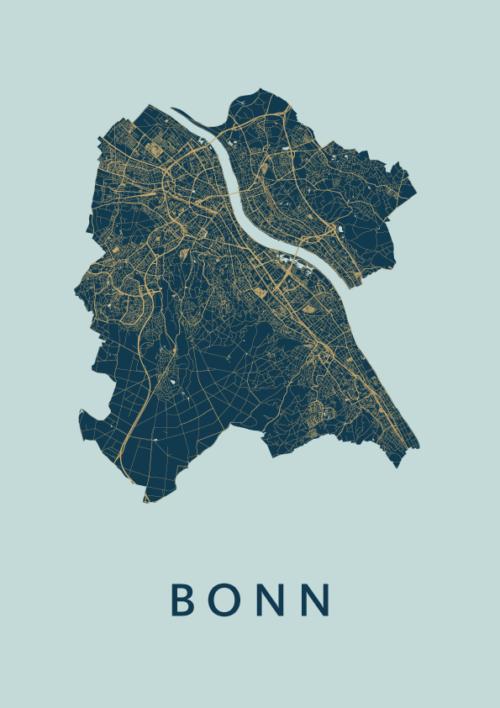 Bonn Prussian Stadskaart Poster | Kunst in Kaart
