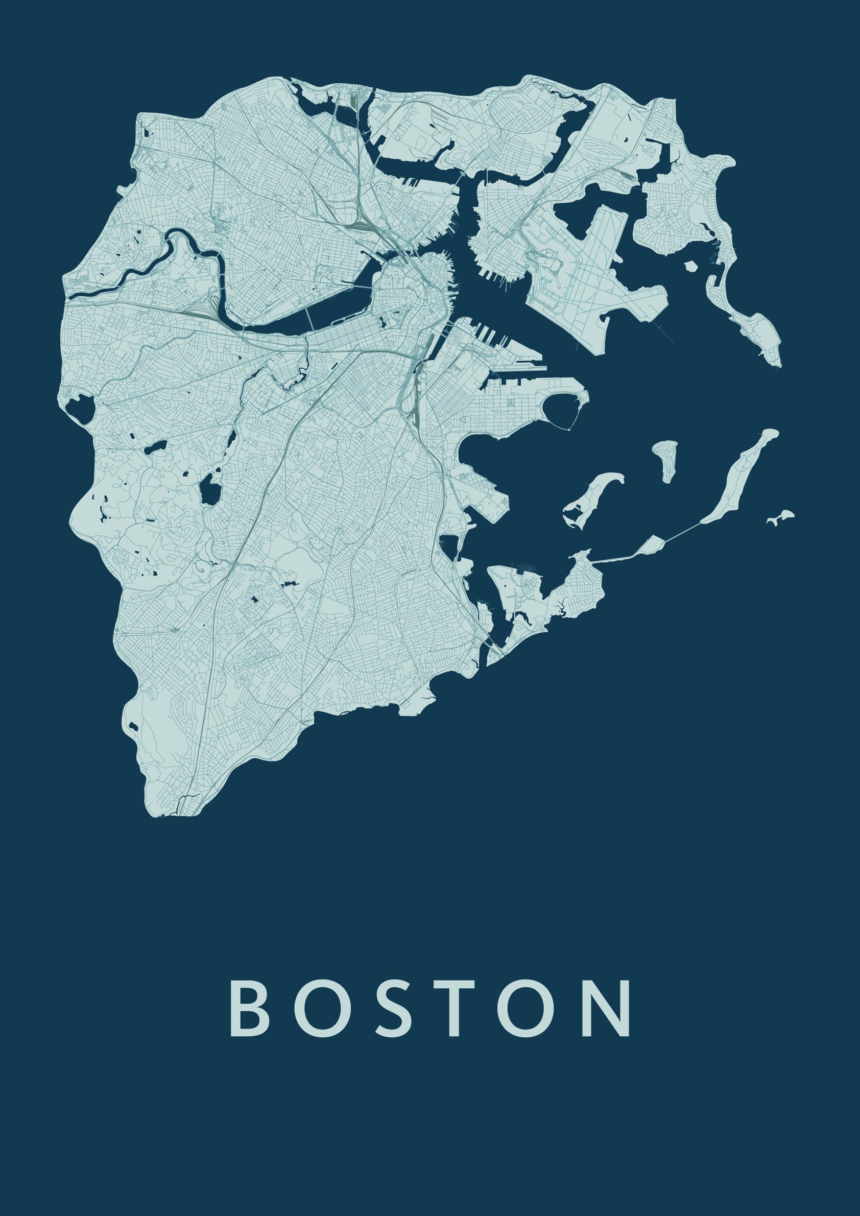 Boston Feldgrau Stadskaart poster Kunst in