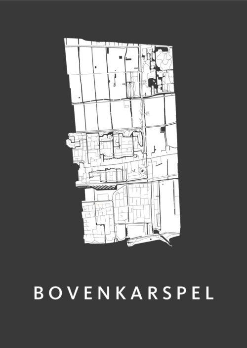 Bovenkarspel Black Stadskaart Poster | Kunst in Kaart