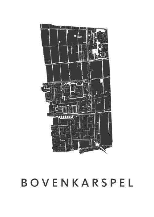 Bovenkarspel White Stadskaart Poster | Kunst in Kaart