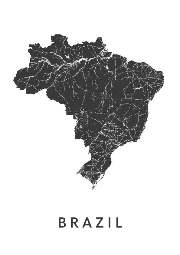 Brazil Country Map stadskaart poster