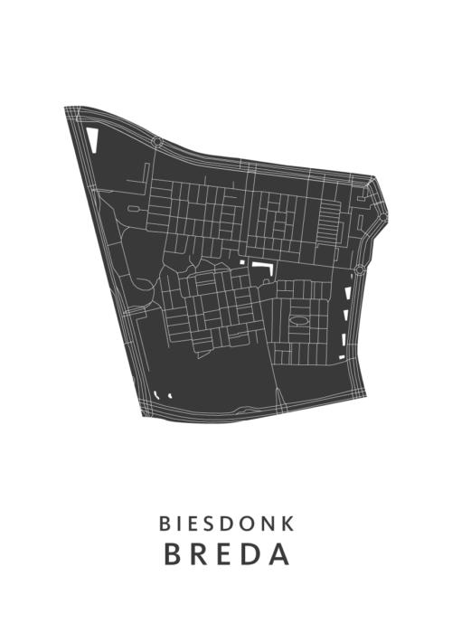 Breda - Biesdonk White Wijk Map