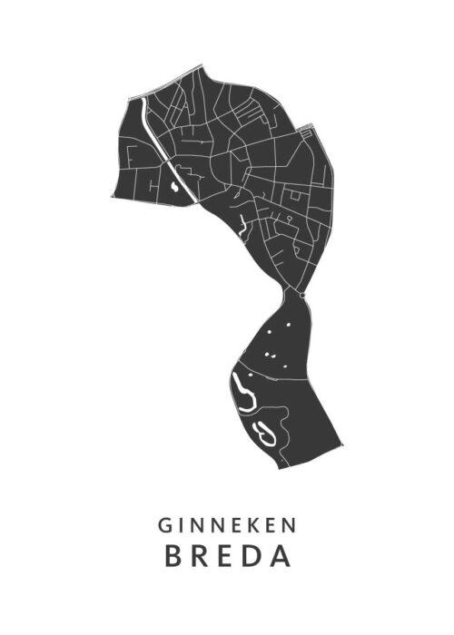 Breda - Ginneken Wijkkaart - wit