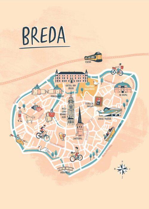 Geïllustreerde kaart - Breda Poster