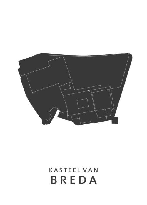 Breda - Het Kasteel Wijkkaart - wit