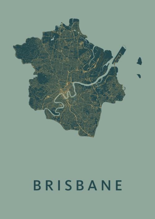 Brisbane Amazon Stadskaart Poster | Kunst in Kaart