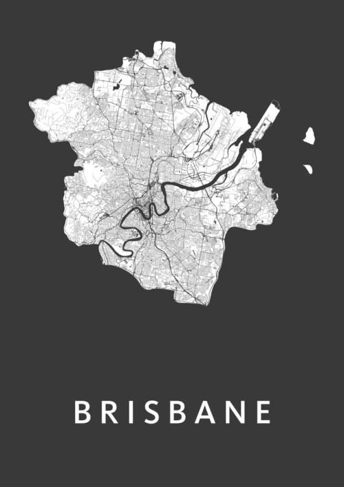 Brisbane Black Stadskaart Poster | Kunst in Kaart