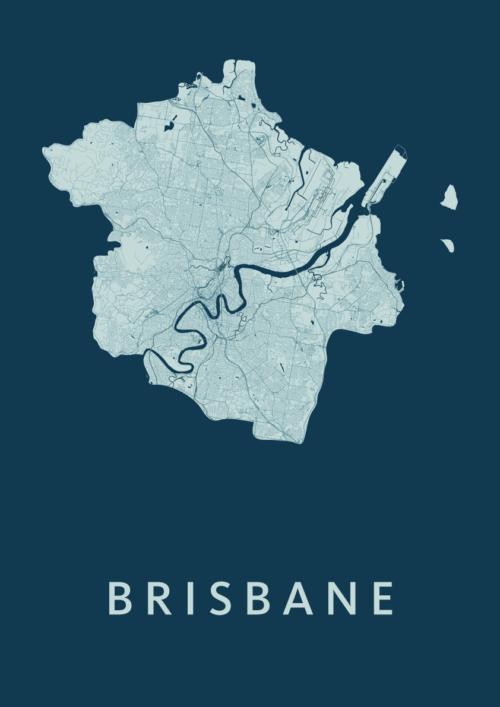 Brisbane Feldgrau Stadskaart Poster | Kunst in Kaart