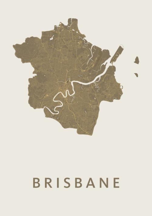 Brisbane Gold Stadskaart Poster   Kunst in Kaart