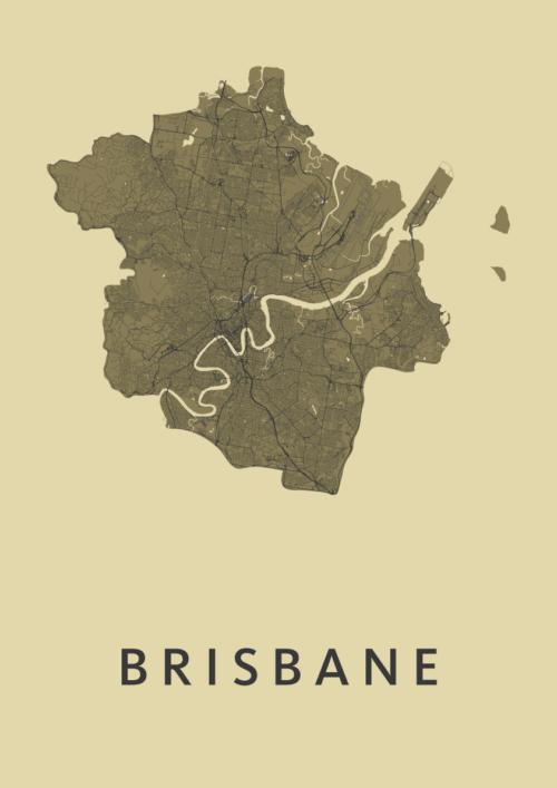 Brisbane GoldenRod Stadskaart Poster | Kunst in Kaart
