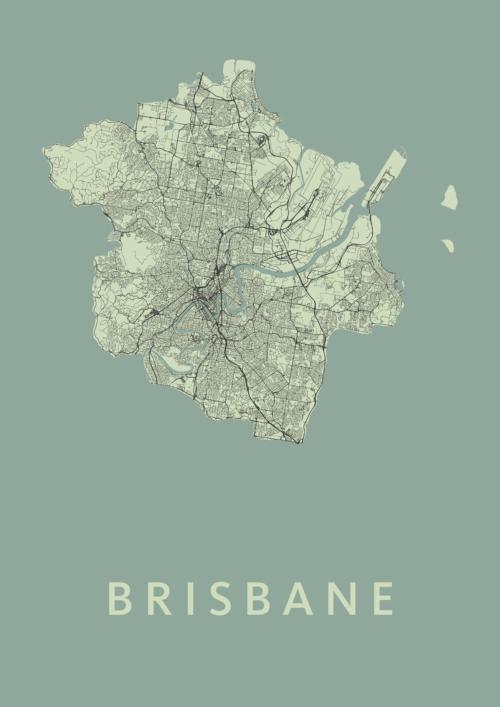 Brisbane Olive Stadskaart Poster   Kunst in Kaart