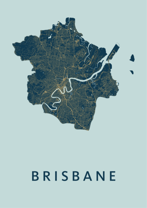 Brisbane Prussian Stadskaart Poster | Kunst in Kaart